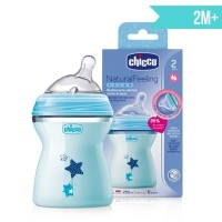 BIBERON CHICCO BLUE NATURALFEELING  9OZ 250ML 2M+
