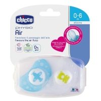 CHUPON 2 PACK CHICCO AIR AZUL/BLANCO SIL 0-6M